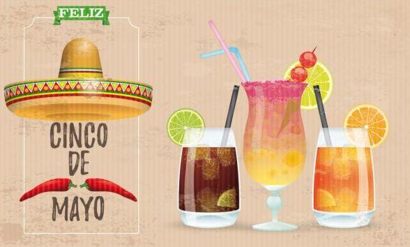 Sombrero Cinco De Mayo Chili Vintage Frame Header Cocktails vector