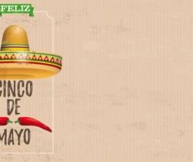 Sombrero Cinco De Mayo Chili Vintage Frame Header vector