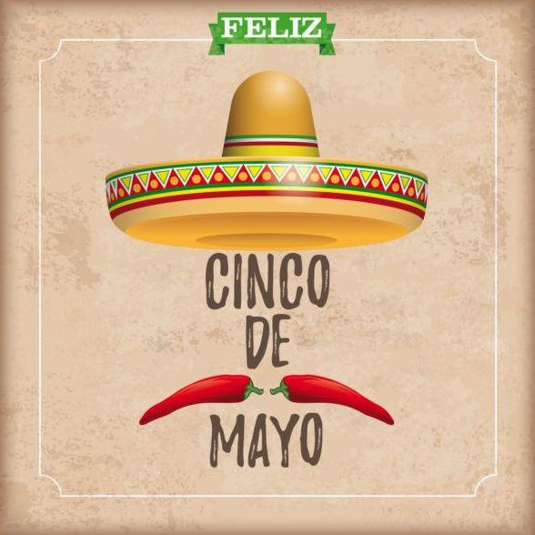 Sombrero Cinco De Mayo Chili Vintage Frame vector