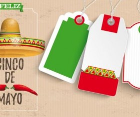 Sombrero Cinco De Mayo Chili Vintage Header Price Stickers vector