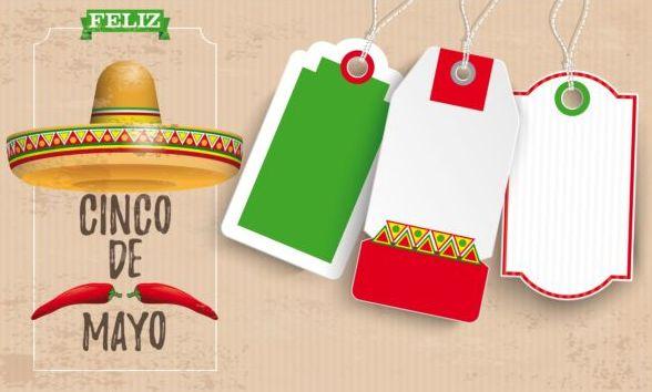 Sombrero Cinco De Mayo Chili Vintage Header Price Stickers vector