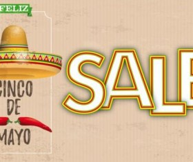 Sombrero Cinco De Mayo Chili Vintage Header Sale vector