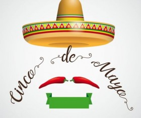 Sombrero Cinco De Mayo Hair Chili Ribbon vector