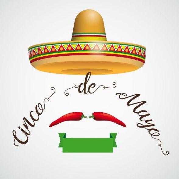 Sombrero Cinco De Mayo Hair Chili Ribbon vector