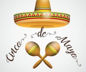 Sombrero Cinco De Mayo Hair Maracas vector