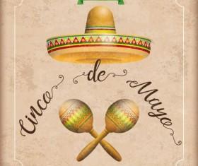 Sombrero Cinco De Mayo Vintage Frame Maracas vector