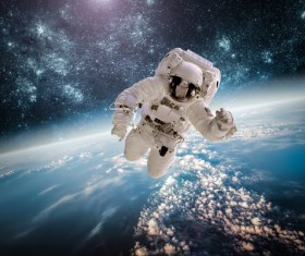 Space Walking astronauts Stock Photo 01