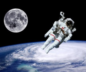 Space Walking astronauts Stock Photo 02