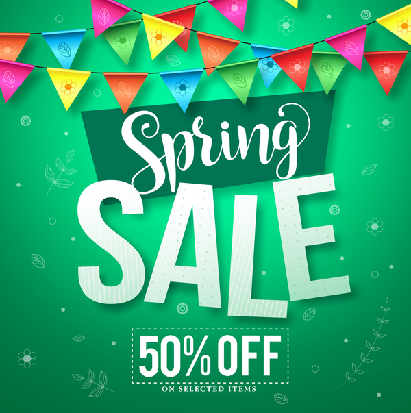 Spring sale discount background vector 01