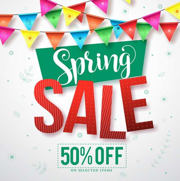 Spring sale discount background vector 02