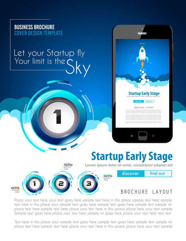 Startup fly modern infgraphic vector material 09