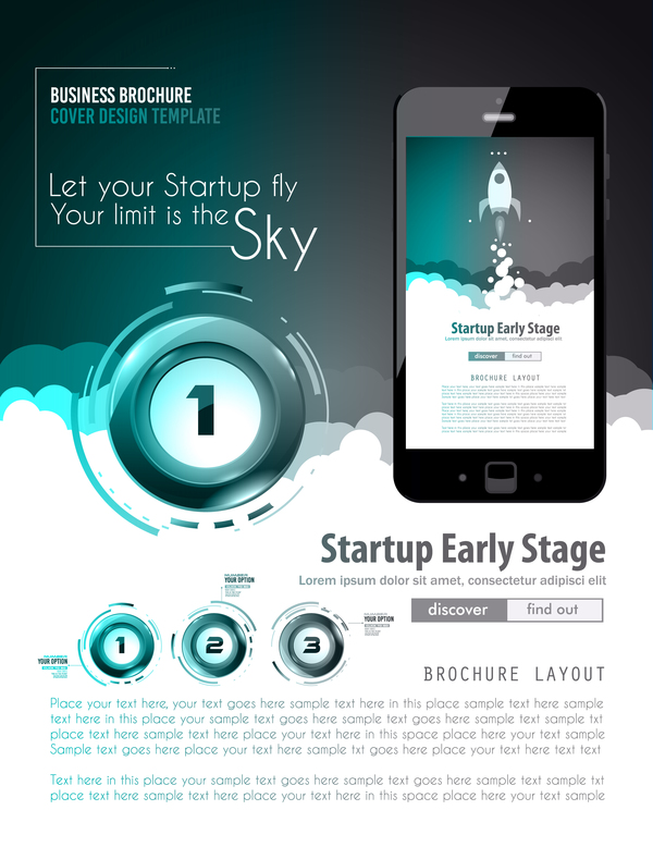 Startup fly modern infgraphic vector material 10