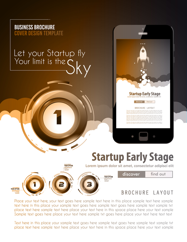 Startup fly modern infgraphic vector material 11