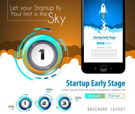 Startup fly modern infgraphic vector material 12