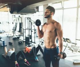 Stock Photo Dumbbell fitness trainer