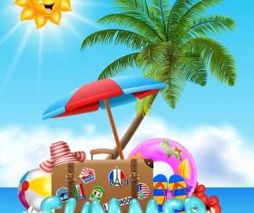 Suitcase with summer travel background vector 03