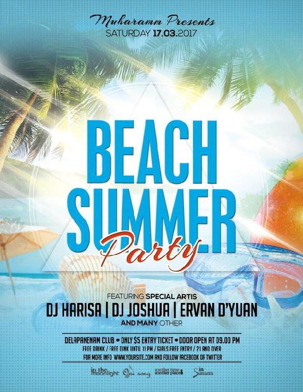Summer Beach Party Flyer Poster PSD template