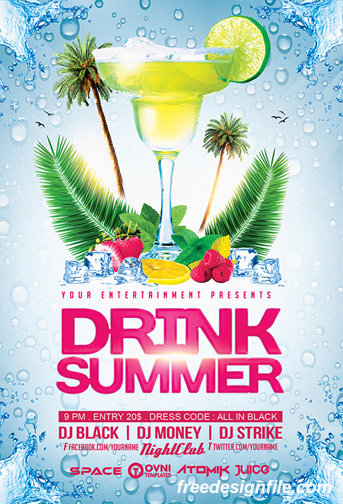 summer drinks flyer psd template free download