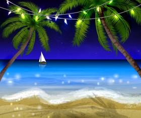 Summer beach night background vector