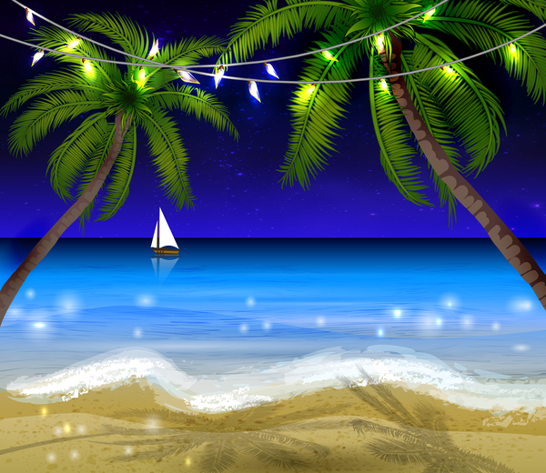 Summer beach night background vector