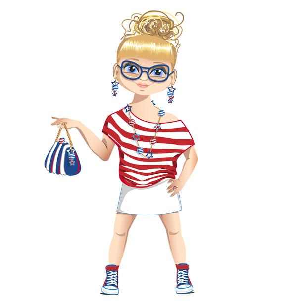 Summer girl cartoon vector 01