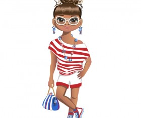Summer girl cartoon vector 02