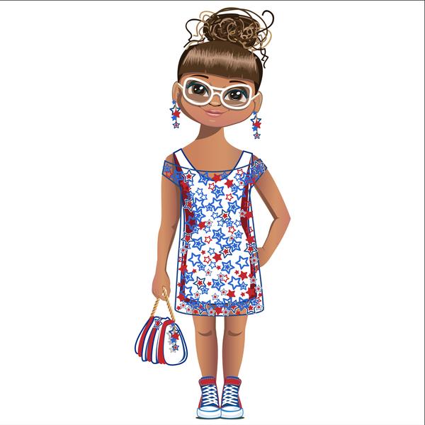 Summer girl cartoon vector 05