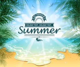 Summer holiday beach poster vector design 01