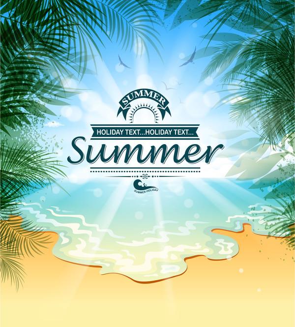Summer holiday beach poster vector design 01