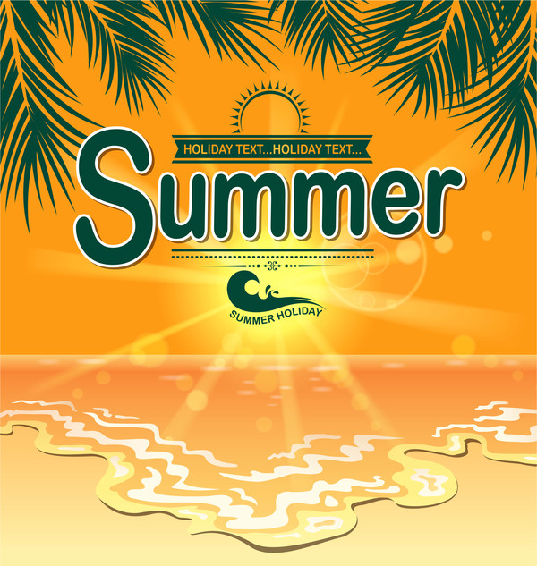 Summer holiday beach poster vector design 04