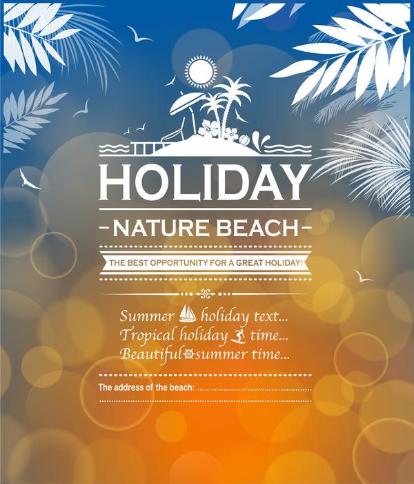 Summer holiday beach poster vector design 05