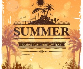Summer holiday beach poster vector design 07