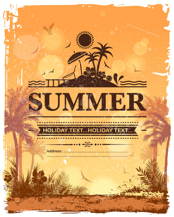 Summer holiday beach poster vector design 07