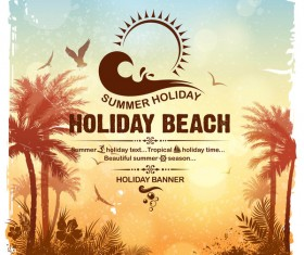 Summer holiday beach poster vector design 08