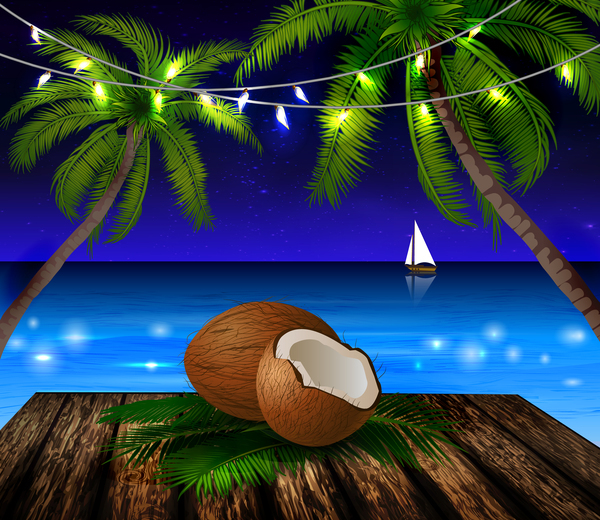 Summer holiday island travel background vector