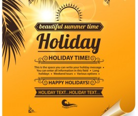 Summer holiday paper poster vector material