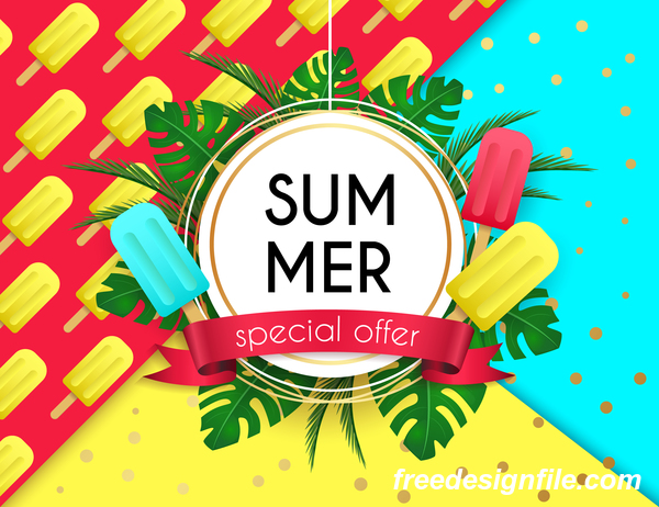 Summer Special Offer Poster Template Vectors 05