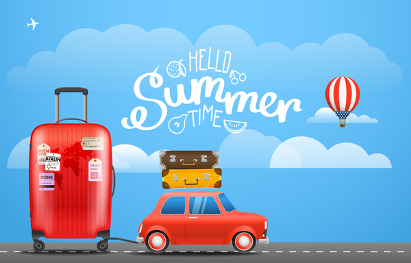 Summer time vacation travel design vector