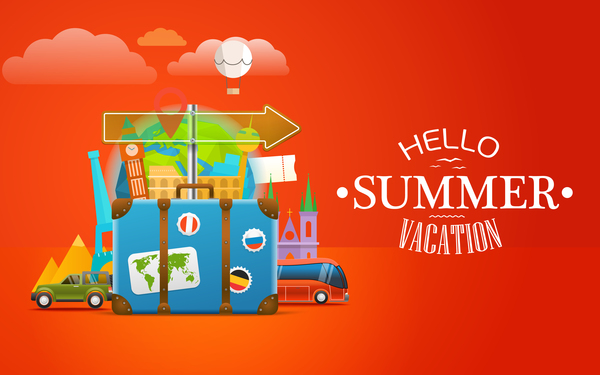 Summer vacation travel elements with red background vector