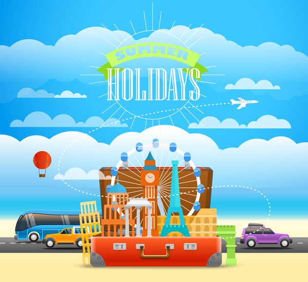 Summer vacation travel vector material