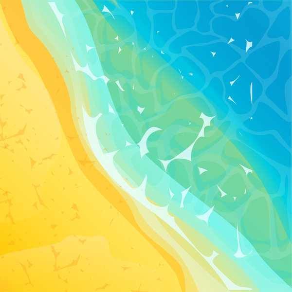 Sun beach with sea background vector 01