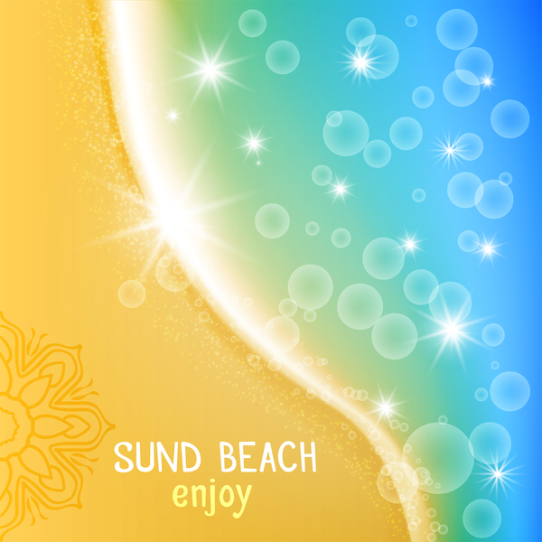 Sun beach with sea background vector 03