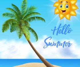 Sun face with sea and beach background vector