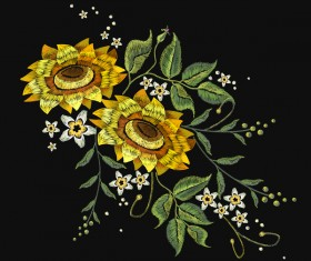 Sunflower embroidery vector