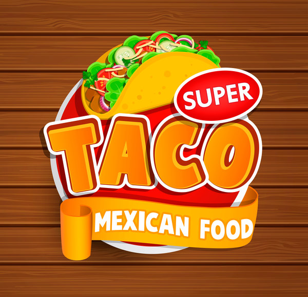 Super taco sticker vector