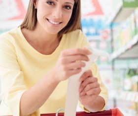 Supermarket purchase lady Stock Photo 01