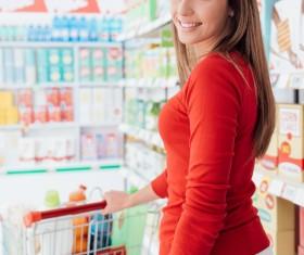 Supermarket purchase lady Stock Photo 02