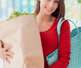 Supermarket purchase lady Stock Photo 03