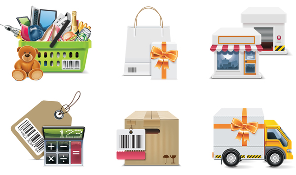 Supermarket with gift boxs icon
