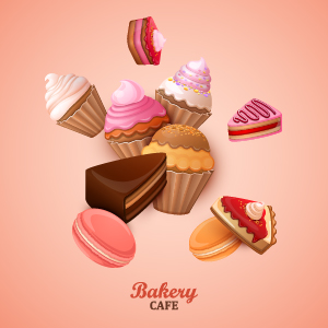 Sweet with ice cream vector background